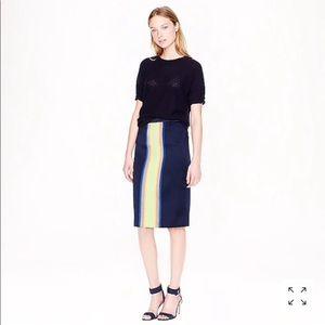 J.crew surf-stripe blue pencil skirt